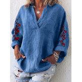 Mulheres soltas bordadas com decote em v manga comprida blusa de bolso