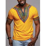 Erkek Afrika Etnik Kısa Kollu Üst Dashiki Tarzı Baskı T Gömlek Bluz Tops