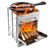 IPRee® Outdoor BBQ Grill Stove Adjustable Stainless Steel Camping Picnic Cooking Wood Stove Set