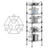 1/2/3/4/5 Layers Tier Stainless Steel Kitchen Storage Shelf Rack Pan Stand Pot Holder Rack Multi-Functional Floor Storage Shelf