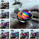 Trendy Geometric Double-sided Glass Ball Necklace Solar System Universe Starry Pendant Necklace