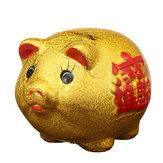 5-calowa złota ceramiczna skarbonka Mini urocza dziecięca kolekcja monet Dekoracje na prezenty