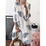 Women Floral Print Long Sleeve Beach Holiday Dress