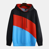Herren Patchwork Color Block Langarm Kapuzen Sweatshirt