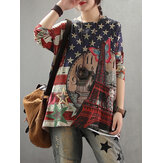Women Flag Print Knit Long Sleeve Casual Sweaters