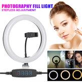 LED Ring Licht Invullen Studio Lamp Fotografisch Voor Video Live Makeup Spiegel Licht Streaming USB + Slang Telefoon Clip + PTZ