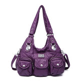 Women Casual PU Leather Multi-Pockets Shoulder Bag