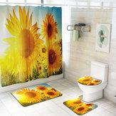 Waterproof Shower Curtain Bathroom Toilet Lid Seat Cover Bath Mats Sunflower Summer Feeling Home Decor
