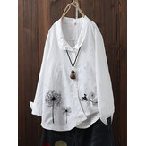 Flowers Print Irregular Button Lapel Plus Size Shirts