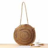 Women Woven Handbag Round Rattan Straw Shoulder Bag Summer Beach Purse