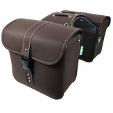 Pair PU Leather Motorcycle Saddlebags Side Luggage Tool Storage Bag