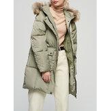 Cappotti in cotone con cappuccio con collo in pelliccia tinta unita da donna