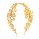 Retro Women Golden Leaves Pearl Headband Crown Wedding Party Hair Accessories Decorations
