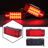 2Pcs Car LED Rectangle Stud Stop Brake Lamps Turn Tail Lights Waterproof for Truck Trailer Boat