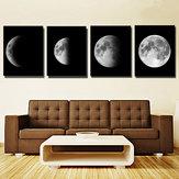 4 Adet Tuval Baskılar Duvar Sanatı Resimleri Resimleri Ev Ofis Dekor Soyut Ay