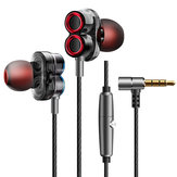 KDK-503 Universal con cable Auricular Controladores dinámicos duales Estéreo Super Bass Headset con micrófono