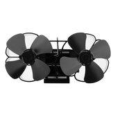 8 Blades Fireplace Fan Silent Stove Fan Dual Twin Heads Wall-Mounted Wood Burner Fan