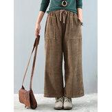 Vintage Corduroy Muti-pockets Elastic Waist Wide Leg Pants