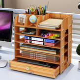 Desktop Wooden Storage Rack Multi-layer Drawers Storage Box File Shelf Bookshelf Creative File Box Pens Pencils Holder Organizer