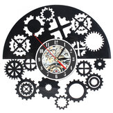 Steampunk Cog Wall ساعةحائط Gears Vinyl سجل Wall ساعةحائط Home Office Decor