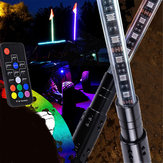 2PCS 3FT Waterproof 5050 RGB LED Whip Rigid Strip Light Beach Lamp Flag Poles For ATV UTV Road with RF Remote Control