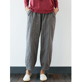 Plus Size Striped Elastic Waist Vintage Casual Pants