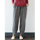 Cintura elástica a rayas de talla grande vendimia Casual Pantalones