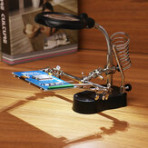 LED Light Soldering Iron Stand Holder Helping Hands Magnifying Glass Magnifier Third Hand Magnifier