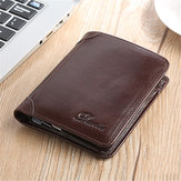 Men Genuine Leather Vintage Short Wallet with 11 Card Slots