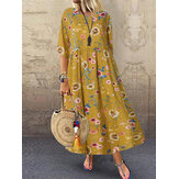 Women Casual Loose Printed O-Neck Half Sleeve Dress