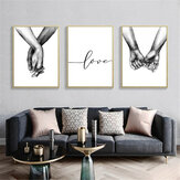 Tenendo la mano in bianco e nero foto Cambric stampe pittura amore Wall Sticker Home Decor
