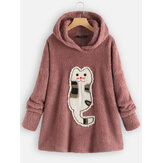 Fleece Cartoon Cat Patch Long Sleeve Hooded Sweatshirt
