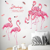 Loskii XL8389 Pink Flamingo Wall Sticker For Home Decoration Bedroom Living Room Study Children Home Office Decor
