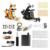 Complete Tattoo Kit 2PCS Tattoo Machine Set Ink Needles Power Supply Grip