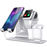 3 i 1 multifunktions-aluminiumslegeringstelader Dock Stand Holder Bordmontering til iPhone iWatch til Airpods