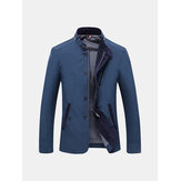 Hombres Casual de Negocio Slim Fit Zipper Single-breasted Stand Collar Chaqueta de Moda de Personalidad