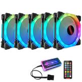 Coolmoon 5PCS 120mm 12 Luces monocromáticas Ventilador de enfriamiento de CPU Ventilador de enfriamiento RGB retroiluminado multicapa con el Control remoto