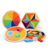 Giocattoli variopinti del puzzle dei blocchi di legno dell'arcobaleno variopinto che imparano gioco educativo