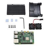 4 GB RAM Raspberry Pi 4 placa base modelo B con negro / astilla / oro aluminio aluminio aleación protectora Caso y doble ventilador de refrigeración