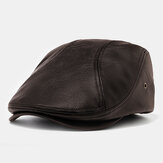 Collrown Men's Artificial Leather Beret Caps Casual Newsboy Cap With Holes For Ventilation Lvy Hats
