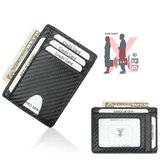 Bakeey RFID Anti-scan Ultra-thin Carbon Fiber Pattern PU Leather Business Wallet Credit Lock ID Card Holder