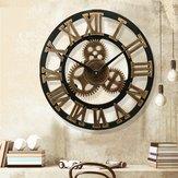 19 Inch Antique Roman Numerals Silent Wall Clock Rustic Wheel Gear Wooden Decor Clock