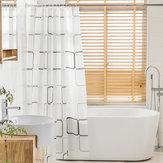 Tecido de poliéster com impressão digital à prova d'água Banheiro Cortina de chuveiro com 13 ganchos de peças