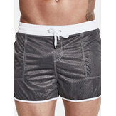 Mens Mesh Spa Swimming Beach Shorts Solid Color Double Pockets Breathable Sport Trunks