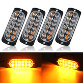 4PCS 36W 12 LED Ultra-thin Car Emergency Flashing Lights Flash Warning Strobe Lamp 12/24V Amber