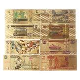 8 stks / set Rusland Roebels Bankbiljet Gouden Papier Poster Geld Russische Ambachten