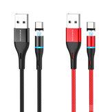 BOROFONE BU16 LED magnétique Nylon tresse en alliage d'aluminium 1.2 M Type-C câble de données Micro USB pour
