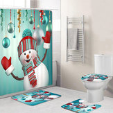 4Pcs Christmas Snowman Non-Slip Rug Pad Toilet Cover Bath Mat Shower Curtain Set