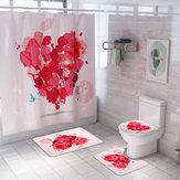 Honana 4PCS Banheiro Impermeável Cortina de chuveiro Pedestal Rug Toilet Seat Cover Tapete de banho Banheiro Decoração