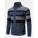Mens Woolen Knitting Stand Collar Patchwork Thick Jacket